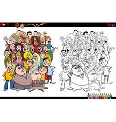 people in crowd coloring page vector image