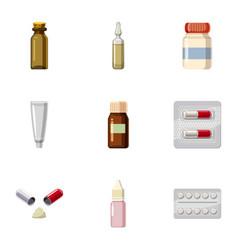 pharmacy icons set cartoon style vector image