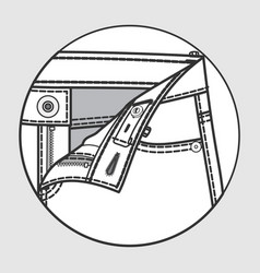 Processing scheme of pants with button fastener vector
