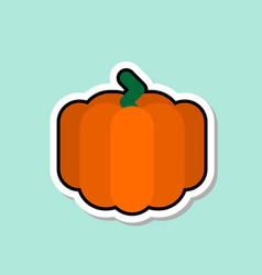 pumpkin sticker on blue background colorful vector image