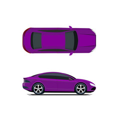 Purple car view from above and from the side vector