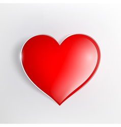 Red glowing heart on a light background vector
