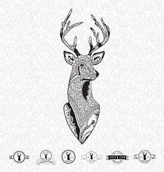 Reindeer head with leaf seamless abstract hand vector image