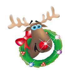 reindeer in wreath vector image