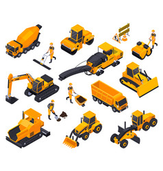 road construction isometric icon set vector image