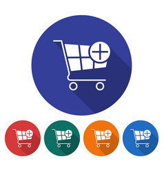 round icon of shopping trolley with plus sign add vector image