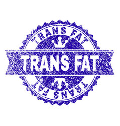 Scratched textured trans fat stamp seal with vector