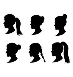 Set of black silhouette girl head vector
