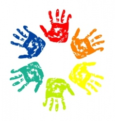 set of colorful hand vector image