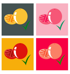 Set of flat tomato isolated on background vector