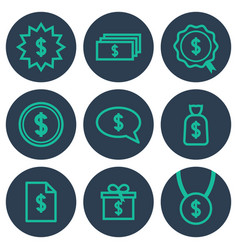 set of icons about money with dollar symbols vector image