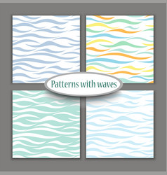 set of marine different seamless patterns vector image