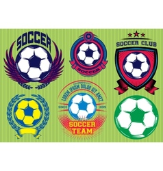 Set soccer football badge logo design templates vector