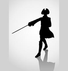 Silhouette seventeenth century swordsman vector