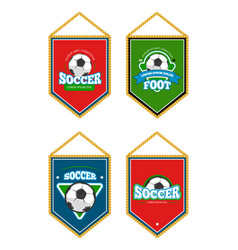 Soccer club pennants set with logo templates vector