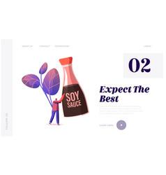 soybean oriental seasoning website landing page vector image