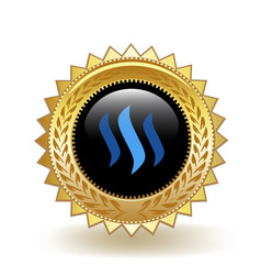 steem cryptocurrency coin gold badge vector image