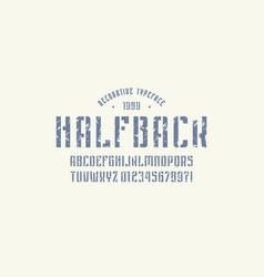 stencil-plate narrow sans serif font vector image