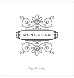 Stylish elegant monogram mono line art design vector image