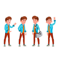 teen boy poses set positive person for vector image