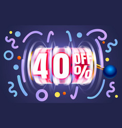 Up to 40 off sale banner promotion flyer slots vector