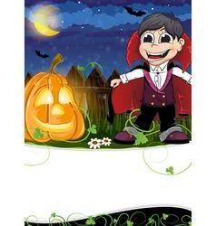 Vampire and jack o lantern vector