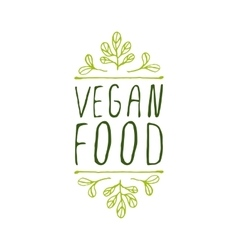 Vegan food - product label on white background vector