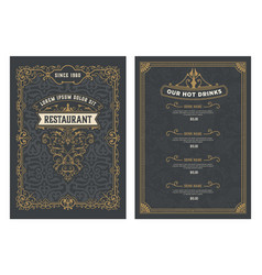 vintage menu with classic and premium ornaments vector image