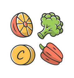 Vitamin c color icon lemon broccoli and bell vector