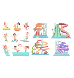 water park pool slides aqua attractions for kids vector image