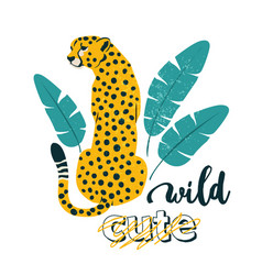 wild slogan leopard typography graphic print vector image