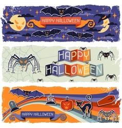 Happy Halloween grungy retro horizontal banners vector image vector image