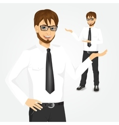 modern hipster businessman showing something vector image vector image