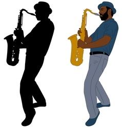 musician plays saxophone vector image