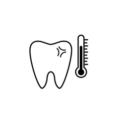 sensitive tooth line icon vector image vector image