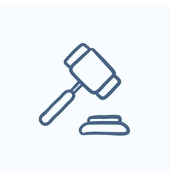 Auction gavel sketch icon vector image vector image