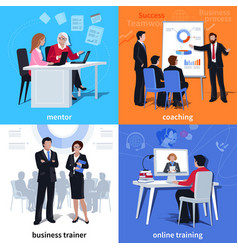 coaching flat compositions vector image