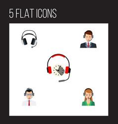 Flat icon hotline set of help secretary vector