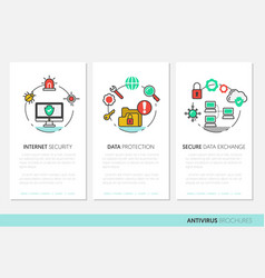 internet security brochure linear thin icons vector image vector image