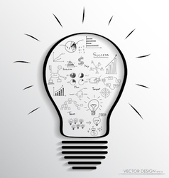 Light bulb with elements of infographics and graph vector image