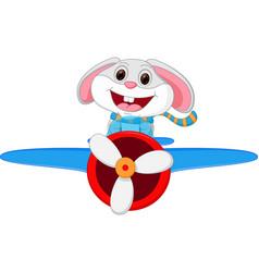 rabbit cartoon riding a plane vector image vector image