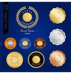 Set of volleyball badge label or emblem for sport vector image