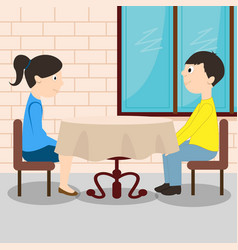 young romantic couple sitting at the table vector image vector image
