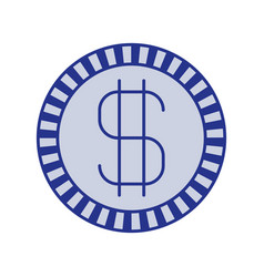blue silhouette of coin with money symbol vector image