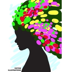 Decorative composition of girl silhouette with vector image vector image