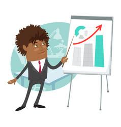 funny black businessman wearing suit present vector image