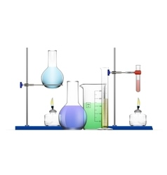 Realistic Chemical Laboratory Equipment Set Glass vector image vector image