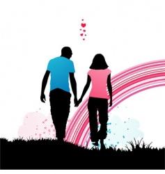 romantic walk vector image vector image