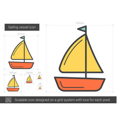 Sailing vessel line icon vector