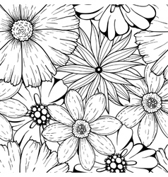 set of hand drawn colorless flowers and vector image vector image
